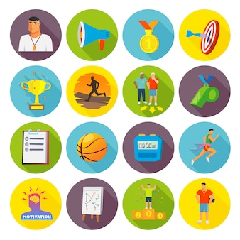 Coaching sport icons flach