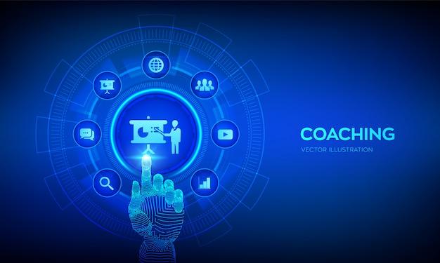 Coaching- und mentoring-konzept auf virtuellem bildschirm. webinar, online-schulungen. roboterhand, die digitale schnittstelle berührt.