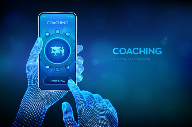 Coaching- und mentoring-konzept auf virtuellem bildschirm.