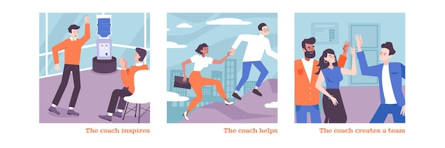 Coaching von flachen illustrationen mit trainern, die ein team bilden und menschen dazu inspirieren, ein unternehmen zu gründen