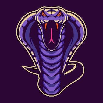 Cobra schlangenentwurf lokalisiert auf lila
