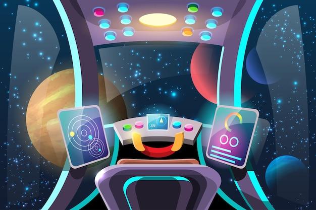 Cockpit zur steuerung der internen systeme des raumfahrzeugs und seiner antriebssysteme.