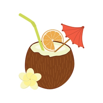 Cocktail des flachen materiellen designgegenstandes des kokosnussvektors.