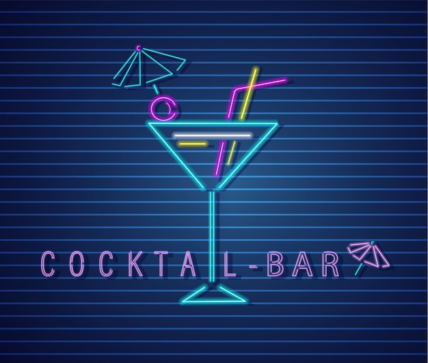 Cocktail drink neon