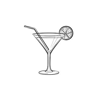 Cocktail-getränk handsymbol gezeichneten umriss doodle. vektorskizzenillustration des glases mit alkoholischem cocktailgetränk für druck, netz, handy und infografiken lokalisiert auf weißem hintergrund.