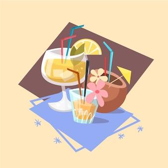 Cocktail-ikonen-sommer-seeferien-konzept-sommerzeit-feiertag