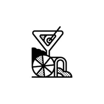 Cocktail-logo-idee mit abstrakten elementen