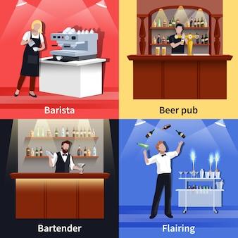 Cocktail menschen icon set