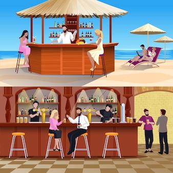 Cocktail menschen zusammensetzung set