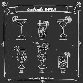 Cocktail-menü-design in kreide-stil