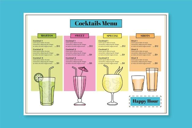Cocktail menü vorlage stil
