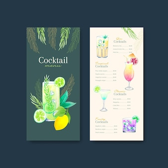 Cocktail-menü-vorlagen-set