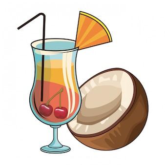 Cocktail mit kokosnuss und kirschen