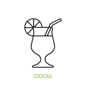 Cocktail mit orangenscheibe und strohhalm umrisssymbol vektorillustration