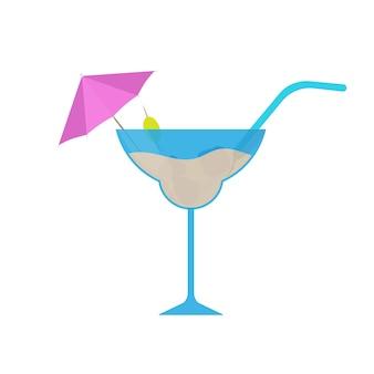 Cocktail mit regenschirm, olive und stroh im flachen stil. cocktail-symbol. isoliert. vektor.