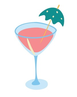 Cocktail mit regenschirm. sommer tropischer cocktail. flaches design der isolierten vektorillustration.