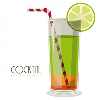 Cocktail mit zitronenillustration