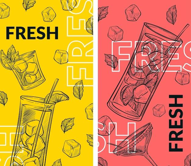 Cocktail mojito gegossen in glastasse mit stroh verziert. eiswürfel und minzblätter, zitrusscheiben. alkoholfreies getränk. café- oder restaurantmenü, werbebanner oder poster. vektor flacher stil