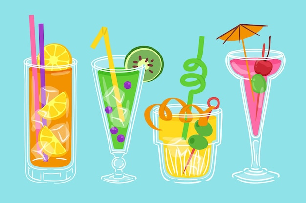 Cocktail sammlung gezeichnetes konzept
