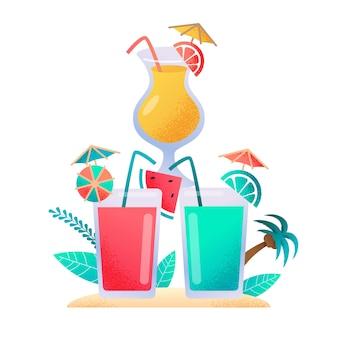 Cocktail und frischer juice drink menu flat banner