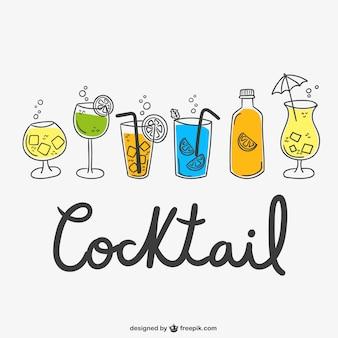 Cocktail zeichnungen packen