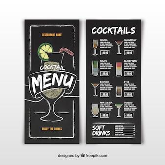 Cocktailbar-menü in der tafelart