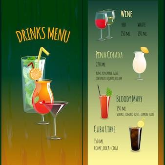 Cocktailbar-menü