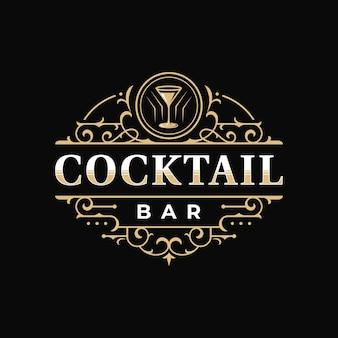 Cocktailbar und restaurant königlicher luxus verziertes vintage-viktorianisches typografie-logo-design