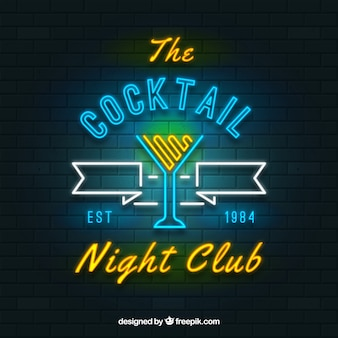 Cocktailbarzeichen mit neonlichtart