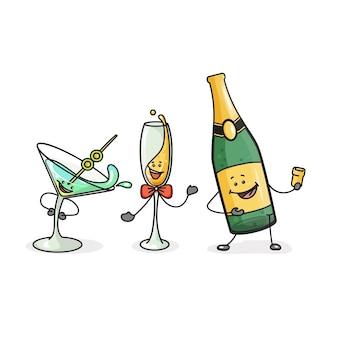 Cocktailflasche und cocktail aus sektglas vektor-flaches cartoon-symbol mit emotionen im comic-stil