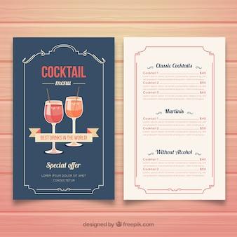 Cocktailmenüschablone in der flachen art