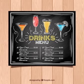 Cocktailmenüschablone in der tafelart