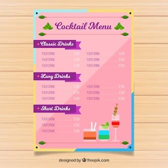 Cocktailmenüschablone mit flachem design