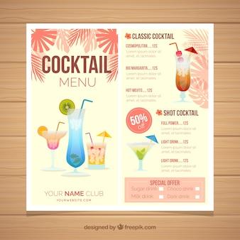 Cocktailmenüschablone mit palmblättern