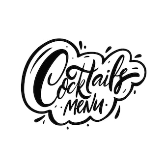 Cocktails menü text phrase schwarze farbe schriftzug vector illustration