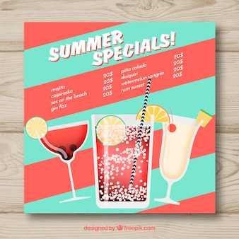 Cocktails menüvorlage