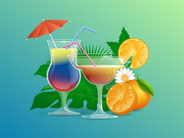 Cocktails mit strohhalmen, cocktailschirmen, blumen und orangenscheiben