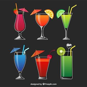 Cocktails sammlung mit verschiedenen licor