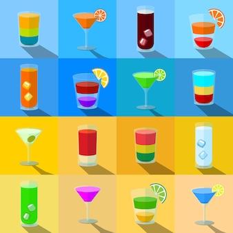 Cocktails zum thema strand in transparenten gläsern Premium Vektoren