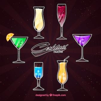 Cocktailsammlung mit verschiedenen farben