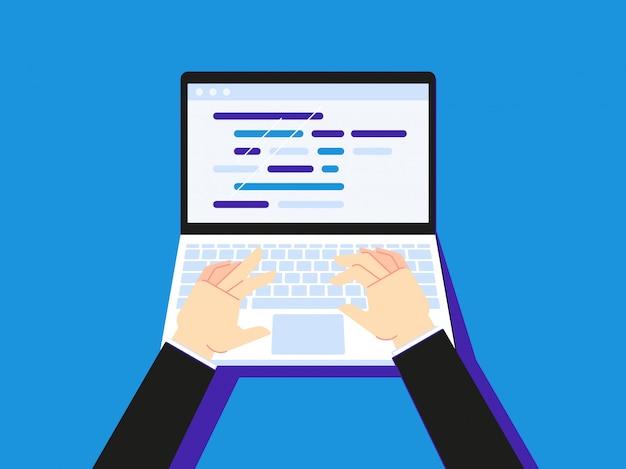 Code auf dem laptop eingeben. geschäftsmann, der notebook-bildschirm desktop oder sekretär hand typ illustration verwendet