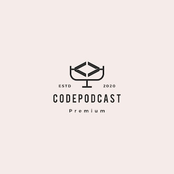 Code podcast logo hipster retro vintage symbol für web-software-codierung entwicklung blog video bewertung vlog tutorial-kanal