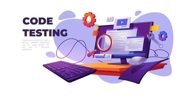 Code test cartoon banner. funktionstest, programmiermethode, suchfehler und -fehler, entwicklung der website-plattform, optimierung der benutzerfreundlichkeit des dashboards für computer-pc-vektorillustrationen