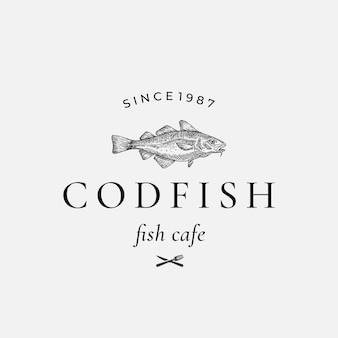 Codfish abstrakte zeichen-, symbol- oder logo-vorlage.