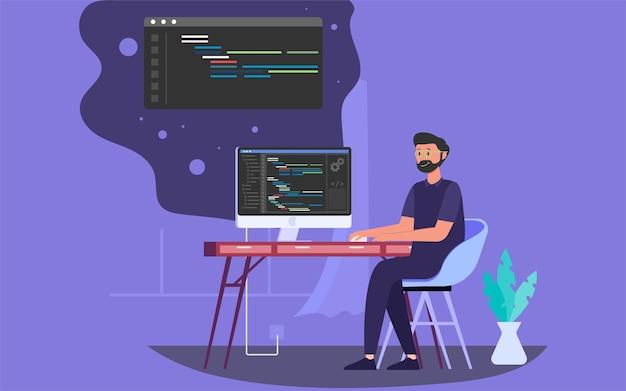 Codierung auf einem computer mit einem programmierskript für die softwareentwicklung