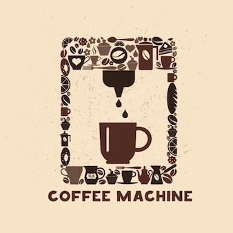 Cofee maschine icon-set von kleinen icons