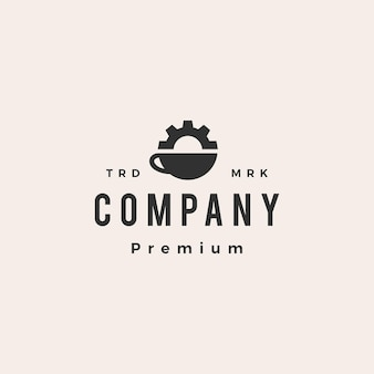 Coffee gear zahnräder maschinenbauingenieur hipster vintage logo vorlage