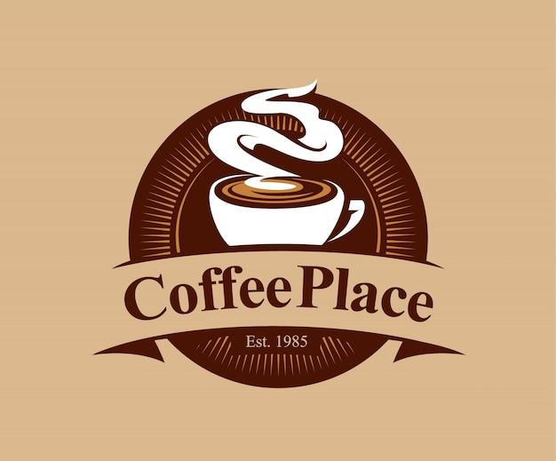 Coffee shop abzeichen im vintage-stil