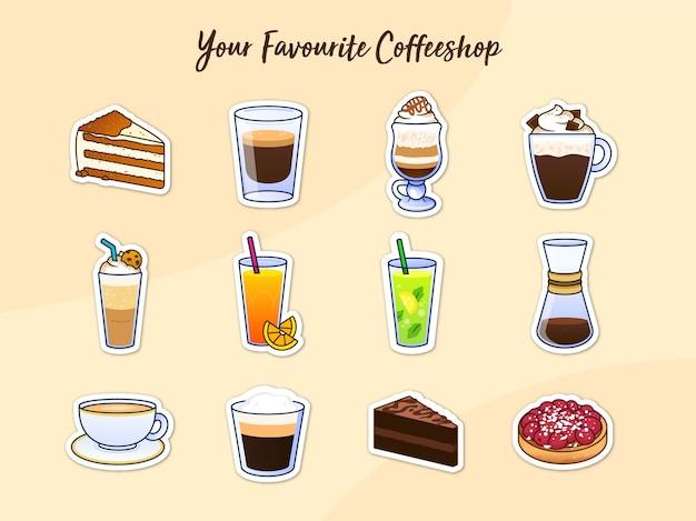 Coffee shop aufkleber Premium Vektoren