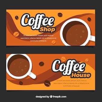 Coffee-shop banner mit welligen formen